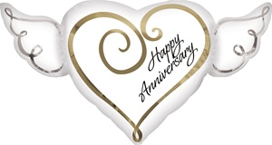 Anniversary Heart with Wings Foil Balloon