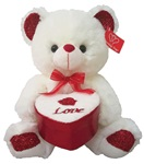 10 inch IVORY Bear with Red Embroidered Heart Box