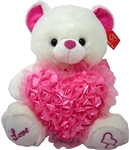 17 inch Bear with Rose Heart and Pink Sequins