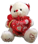 14 inch White Bear with I Love You Red Heart