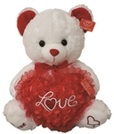 17 inch WHITE Bear with Red Rose Love Heart