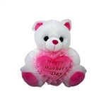 9in White Mother's Day Bear with Pink Heart