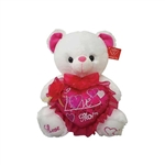9in White Bear with Sequined LOVE MOM Heart