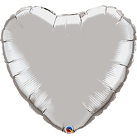 18 inch SILVER Heart shaped Qualatex Foil Balloon