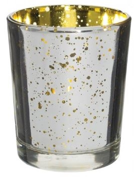 Prefilled Mercury Votive Candle Holder with Candle SILVER GOLD