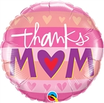 Thanks Mom with Heart Balloon