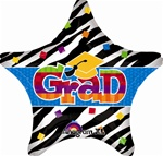 Grad Black Stripes star Foil Balloon