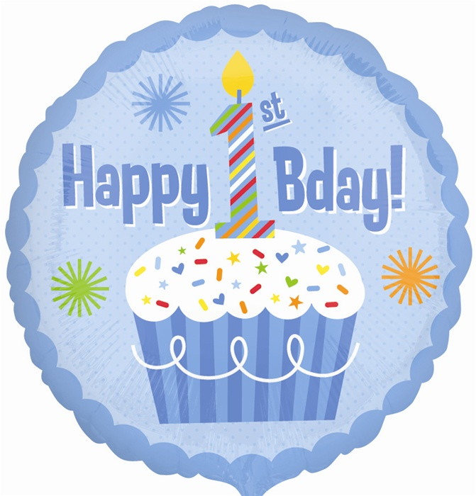 18 inch Happy 1st Birthday Boy foil balloon