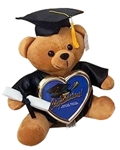 11 inch Brown Grad Bear with Black Hat, & Diploma