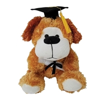 9 inch Brown Fuzzy Grad Dog with Black Hat & Diploma