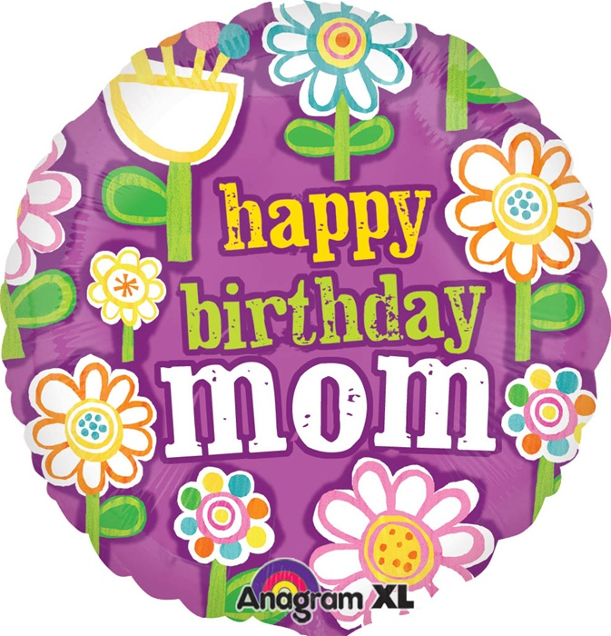 18 Inch Birthday Mom Floral Pattern Foil Balloon