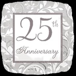 18 inch 25th Anniversary Silver Elegant Scroll