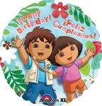 18 inch Dora & Diego Happy Birthday Round foil balloon