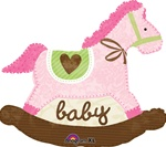 29 inch PINK Baby Rocking Horse foil balloon