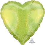 18 inch LIME GREEN HEART Dazzler Holographic Foil Balloon