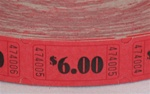 Assorted Color Single Tickets $6.00, Price Per Roll of 2000