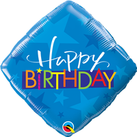 18 inch Happy Birthday Blue Stars foil balloon
