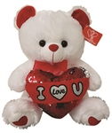 WHITE Bear with Sequin I Love You Pillow