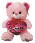 PINK Bear with Sequin I Love You Pillow