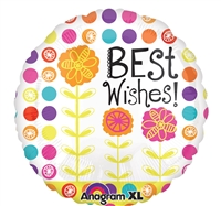 21 inch Floral Blue Best Wishes Balloon