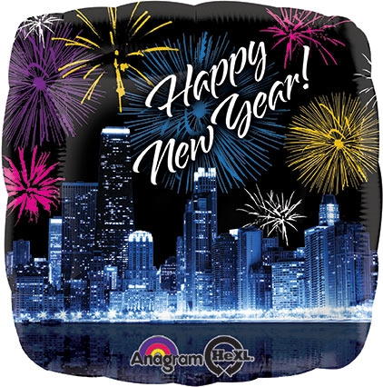 happy new year chicago skyline fireworks balloon