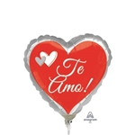 9in Te Amo Red & Silver Balloon