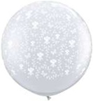 3 foot Qualatex FLOWERS-A-Round DIAMOND CLEAR, Price Per Bag of 2