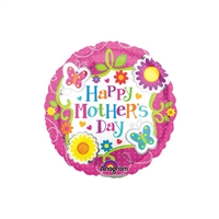 9 inch Happy Mother's Day Butterflies and Flowers Foil Balloon