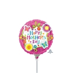 4 inch Happy Mother's Day Butterflies and Flowers Foil Balloon