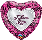 18 inch I Love You Sparkle Filigree Heart Shapes