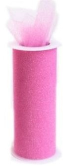 Glitter Tulle PINK 6in x 10yd