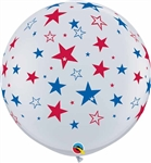 WHITE with RED and BLUE STARS
