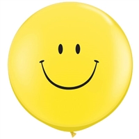 3 foot SMILE FACE Yellow latex balloons
