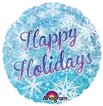 18 inch Happy Holidays Snowflake Holographic