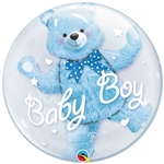 24 inch DOUBLE BUBBLES Baby Boy BLUE  Bear
