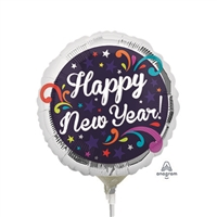 9 inch Happy New Year Gold & Silver Confetti balloon. By Anagram