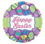 18 inch Easter Dots & Stripes Foil Balloon