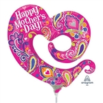 14in Happy Mother's Day Swirly Open Heart