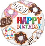 18 inch HX Donut Happy Birthday Foil Balloon