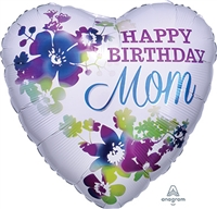 Happy Birthday Mom Watercolor Foil Balloon
