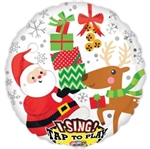 28 inch Santa and Rindeer Sing-A-Tune Foil Balloon
