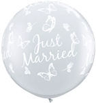 3 foot Qualatex JUST MARRIED BUTTERFLIES on DIAMOND CLEAR
