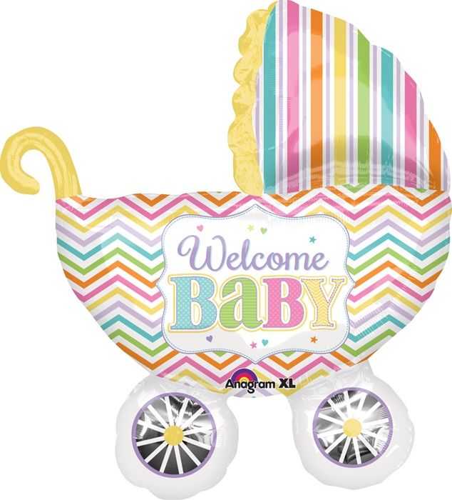 31 inch welcome baby carriage foil balloon