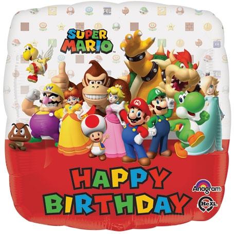 mario happy birthday 18 inch Mario Bros Happy Birthday foil balloon mario happy birthday
