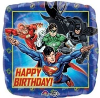 18 inch Justice League Happy Birthday Square Foil Balloon