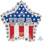28 inch USA Star Ruffle foil patriotic balloon.