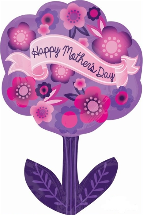 24 Inch Happy Mothers Day Purple And Pink Flower