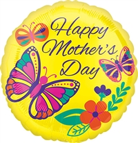 18 inch VLP Happy Mother's Day Bright Butterflies Foil Balloon