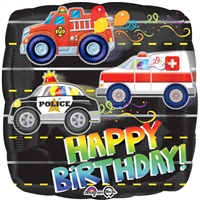 18 inch Happy Birthday Rescue Vehicles