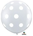 3 foot Qualatex Round White Polka Dot on DIAMOND CLEAR